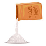 Box of Flour Pouring. Vector Illustration of Box of Flour Pouring Stock Photos