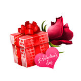 Box with flower and gift card. Red present gift in hearts with big bow and luxury rose nearby. Saint Valentine`s day Stock Image
