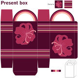 Box with flowers. Template gift box with flowers design Royalty Free Stock Photos