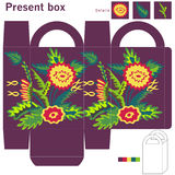 Box with flowers. Ghift box with abstract flowers Royalty Free Stock Photo