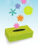 Box of Flowery Sneezes. Retro-stylized tissue box with flowers and pollen; Easy-edit layered file vector illustration