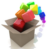 Box with flying cubes Royalty Free Stock Photo