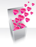 Box with flying hearts. Box with pink flying hearts Stock Photo