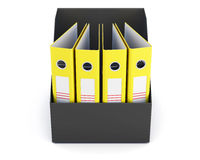 Box with folders isolated on white background. 3d rendering Stock Photos