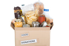 Box of food to donate stock images