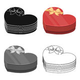 A box in the form of a red heart. A gift to a loved one.Gifts and Certificates single icon in cartoon style vector Royalty Free Stock Images