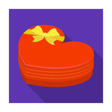 A box in the form of a red heart. A gift to a loved one.Gifts and Certificates single icon in flat style vector symbol Royalty Free Stock Photos