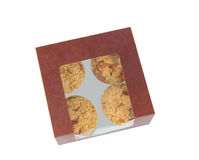 Box With Four Muffins Stock Photos