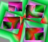 Box Fractal Abstract. A computer generated  fractal abstract illustration. Bright colors and shapes Stock Photo