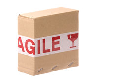 Box with Fragile Tape Stock Image