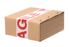 Box with Fragile Tape Royalty Free Stock Photo