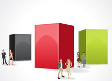 Box frame background with business people. Stock Photography