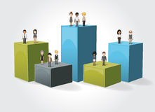 Box frame background with business people. Royalty Free Stock Images