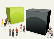 Box frame background with business people. Stock Images