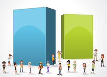 Box frame background with cartoon teenagers. Stock Photos