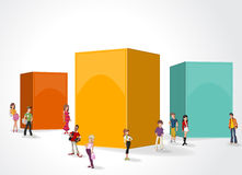 Box frame background with cartoon teenagers. 3d design of a text box frame background with cartoon teenagers Stock Image