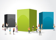 Box frame background with cartoon teenagers. Royalty Free Stock Photos