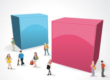 Box frame background with cartoon teenagers. Royalty Free Stock Image