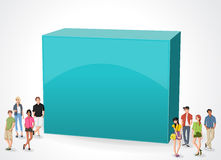 Box frame background with cartoon teenagers. 3d design of a text box frame background with cartoon teenagers Stock Photos