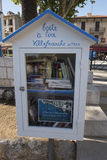 Box with free books for reading in Villefranche-sur-Mer, France. Box with free books for reading in Jardin François Binon park in Villefranche-sur-Mer, France Royalty Free Stock Photography