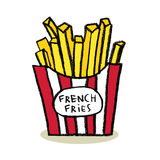 Box of French fries. A box of fast food French fries, simple illustration, isolated Royalty Free Stock Photo