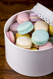 Box of fresh french macaroons Royalty Free Stock Photo
