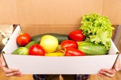 Box of fresh organic vegetables stock image