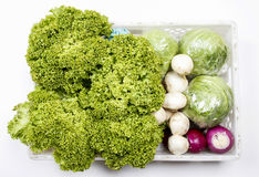 Box of fresh raw vegetables. Top view Royalty Free Stock Image