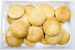 Box of fresh round buns Royalty Free Stock Photo