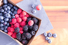 Box of Fresh Seasonal Autumn Berries Stock Photo