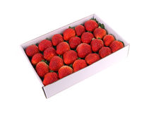 Box of fresh tasty strawberries Stock Photos