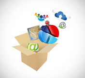 Box full of app and tools. illustration design Stock Photography
