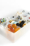 Box full of colored beads Royalty Free Stock Photos