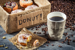 Box full of donuts with coffee Royalty Free Stock Photo