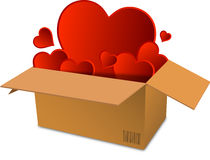 Box full of hearts with bar code Stock Photography