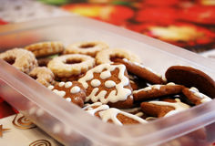 Box full of homemade christmas gingerbread sweets Royalty Free Stock Photography