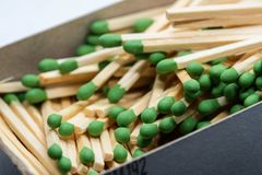 Box full of long matches royalty free stock images