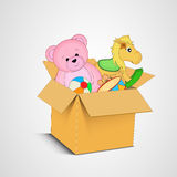 Box full of many toys. Royalty Free Stock Image
