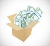 Box full of money illustration design Royalty Free Stock Photos