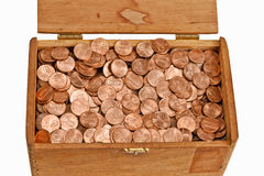 Box Full of Pennies Royalty Free Stock Photography
