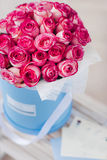 Box full of pink roses with greeting-card Stock Images