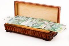 Box full of Polish money Stock Photography