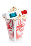 Box full of popcorn and 3d glasses Stock Image