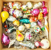 Box full of retro Christmas decorations Royalty Free Stock Image