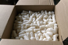 Box Full of Styrofoam Packing Peanuts Stock Photos