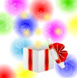 Box with a gift on a bright christmas background Stock Photography
