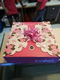 Box. Gift box with cake colourful degin Royalty Free Stock Image