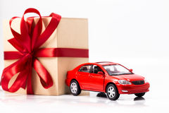 Box gift and car Stock Photography