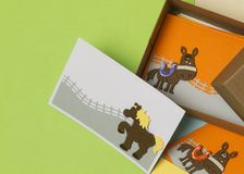 Gift cards with horse decoration, made for children stock images
