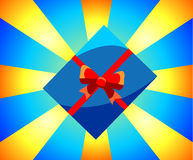 Box with a gift. Christmas illustration on a smart background. With rays Royalty Free Stock Images